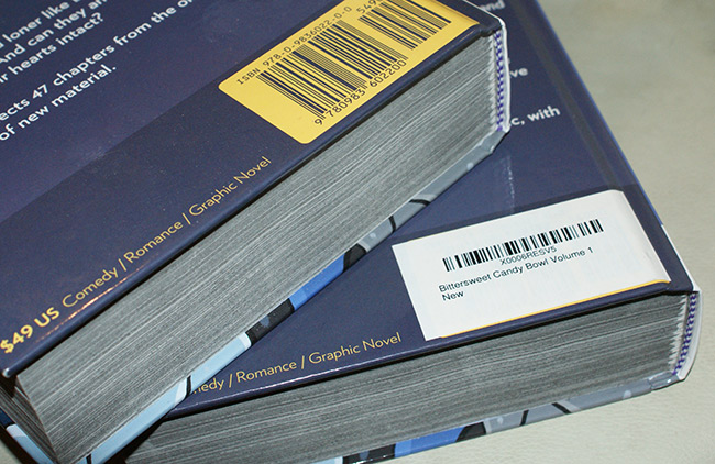 A photo of the SKU barcode applied to the book.